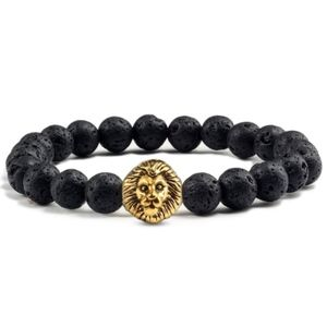 Jewelry - Black Lava Oil Diffuser Lion Head Stretch Bracelet